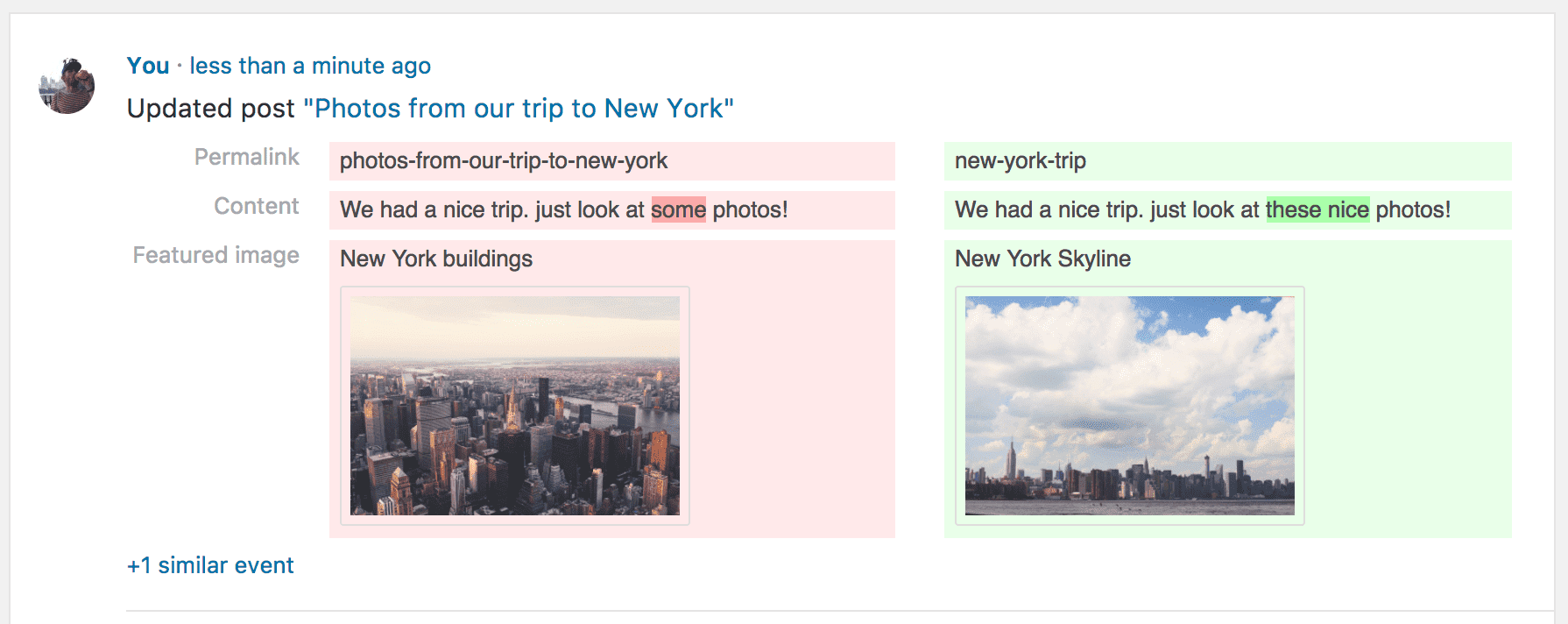 Screenshot showing how a post with changed featured image looks in the audit log in Simple History