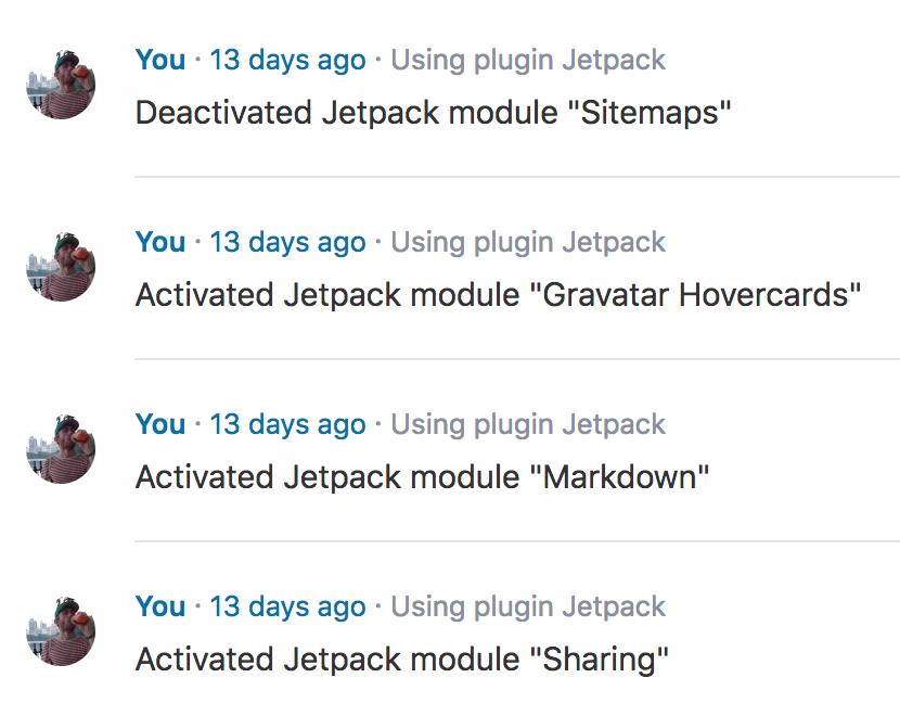 Screenshot of Simple History logging Jetpack module activation and deactivation